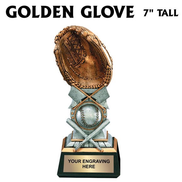 Golden Glove Baseball Tower Resin Award 7 Inch Tall