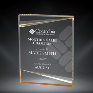 "GreyStone 1"" thick Clear Sabre Edge Acrylic Award with Gold Accents 