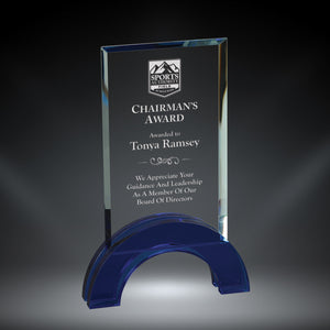 GreyStone Hampton Style Rectangle Crystal Award with Colored Arch Base | 2 COLORS | 3 SIZES