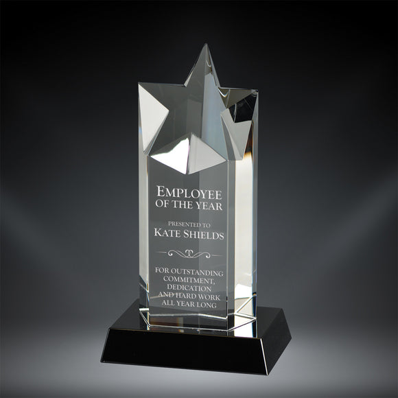 GreyStone Star Tower Crystal Award on Black Base | 3 SIZES