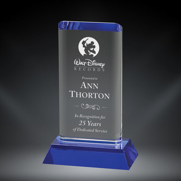 GreyStone Blue Oval Tower Crystal Award with Blue Crystal Base | 2 SIZES
