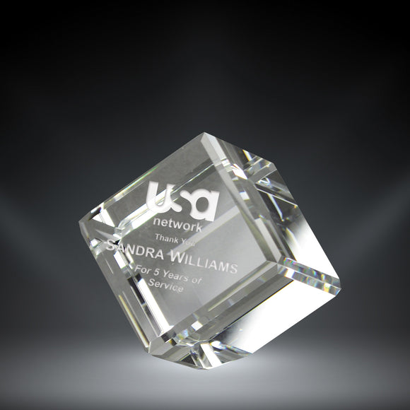 GreyStone Crystal Cube Paperweight | 4 SIZES