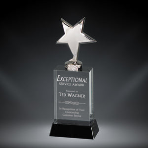 GreyStone Chrome Metal Star Crystal Tower Award on Black Base | 3 SIZES