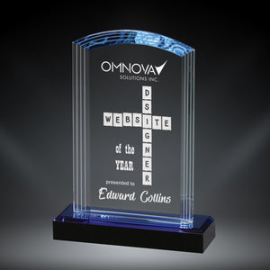 GreyStone Arch Crystal Award with Frosted Accents and Blue Highlighted Black Crystal Base | 3 SIZES