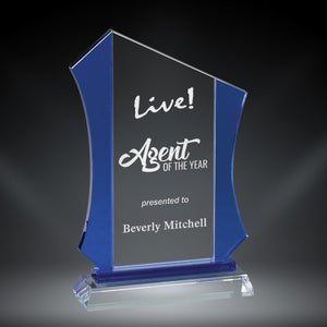 GreyStone Anvil Style Crystal Award with Blue Side Accents | 3 SIZES