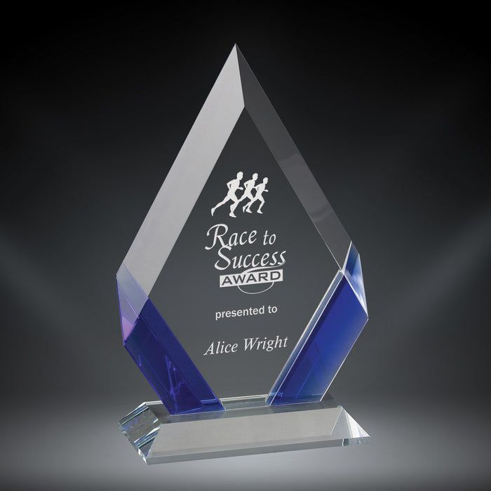 GreyStone Cambridge Diamond Crystal Award with Blue Accents | 3 SIZES