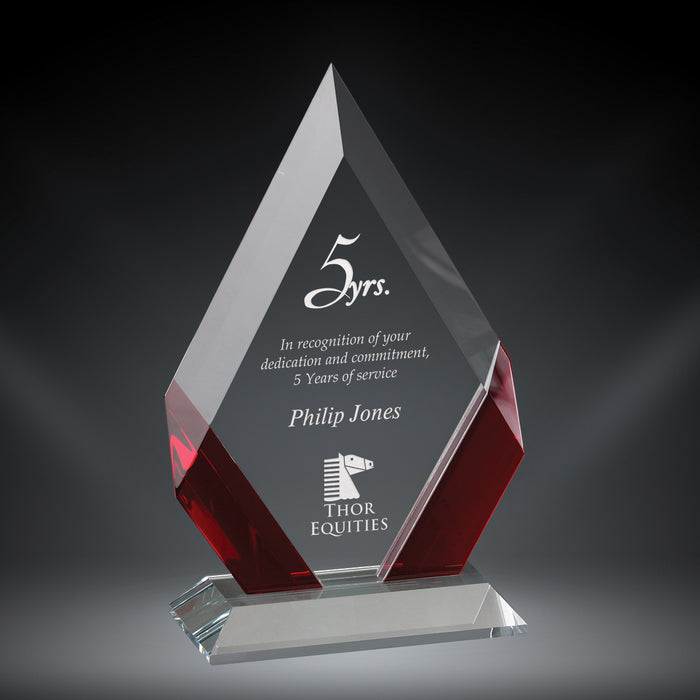 GreyStone Cambridge Diamond Crystal Award with Red Accents | 3 SIZES