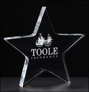 "Airflyte Star Paperweight in 3/4"" thick clear acrylic"