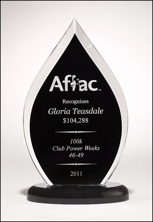 Airflyte Flame Series clear acrylic award with black silk screened back | 3 SIZES