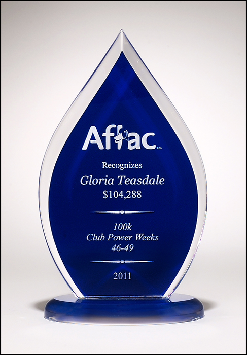 Airflyte Flame Series clear acrylic award with blue silk screened back | 3 SIZES
