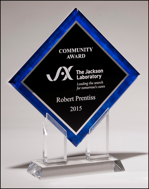 Airflyte Diamond Series acrylic printed blue border, silver mirror highlights with black center and clear acrylic stand