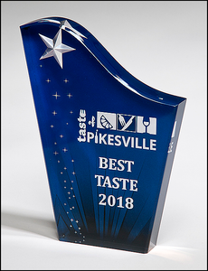 Airflyte Freestanding Acrylic Award with Etched and Color-Filled Star on Digitally-Printed Constellation Background | 3 SIZES