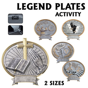 LA Trophies - Legend Series Silver and Gold Oval Activity Resin Plates  | 2 SIZES