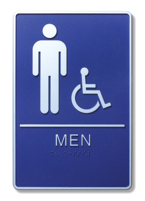 "ADA Compliant 6"" x 9"" Blue Sign - Men & Wheelchair"