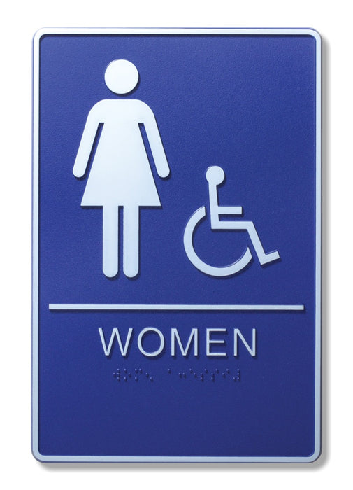 "ADA Compliant 6"" x 9"" Blue Sign - Women & Wheelchair"