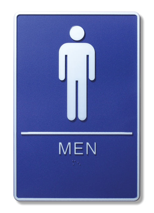 "ADA Compliant 6"" x 9"" Blue Sign - Men"