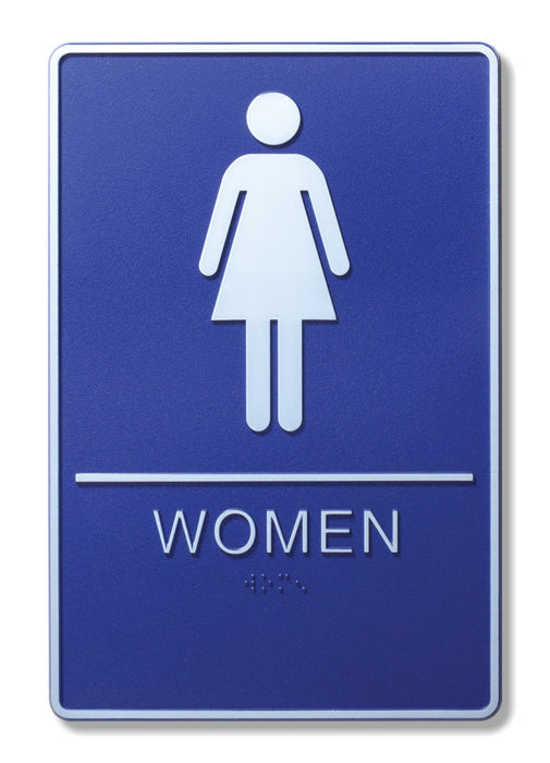 "ADA Compliant 6"" x 9"" Blue Sign - Women"