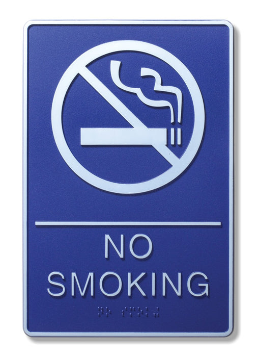 "ADA Compliant 6"" x 9"" Blue Sign - No Smoking"