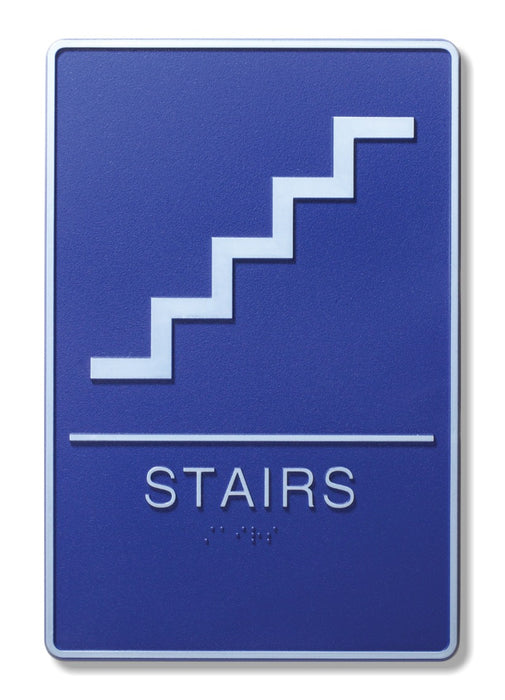 "ADA Compliant 6"" x 9"" Blue Sign - Stairs"