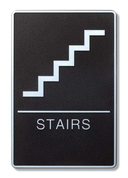 "ADA Compliant 6"" x 9"" Black Sign - Stairs"