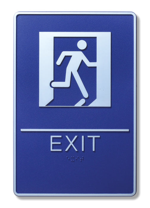"ADA Compliant 6"" x 9"" Blue Sign - Exit"