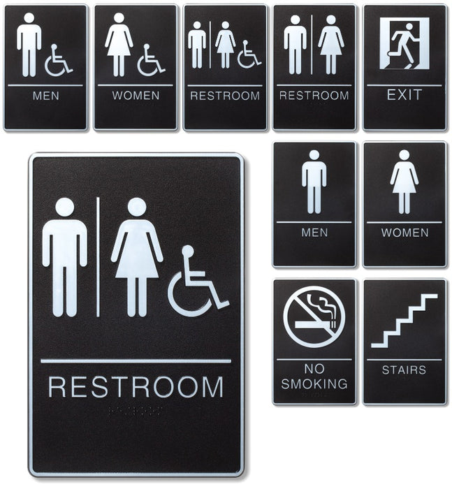 "ADA Compliant 6"" x 9"" Black Signs with Grade 2 Braille and raised lettering and border"