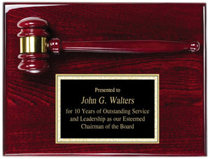 Marco 9x12 Rosewood stained piano finish gavel plaque