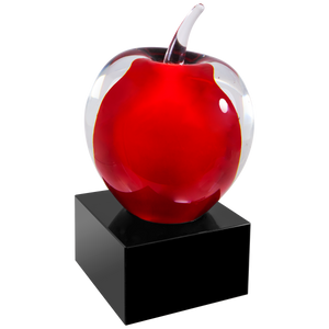 Premier Art Glass Red Apple with Laser Engravable Black plate