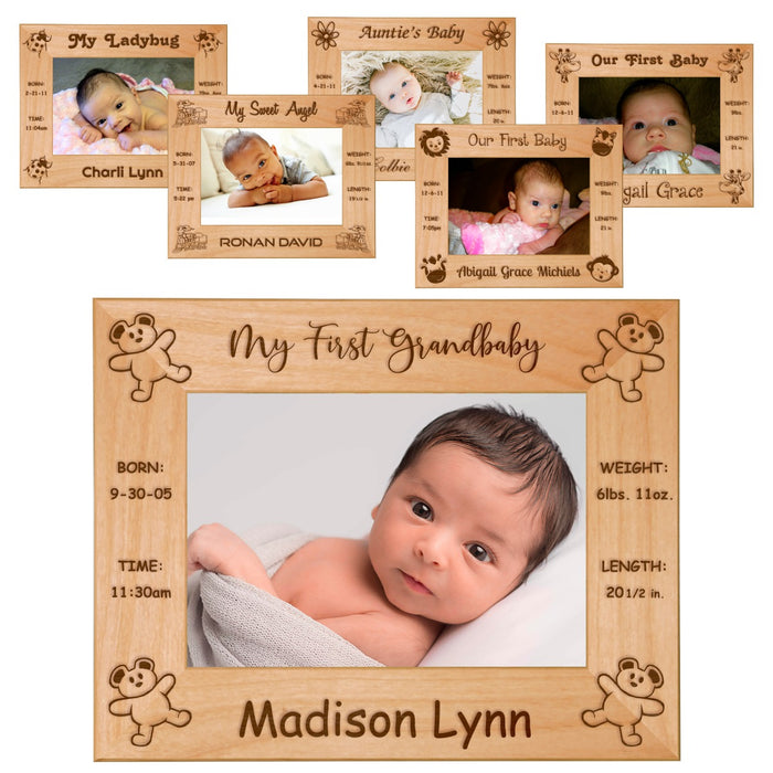 "Celebrating My First Baby Red Alder Laser Engraved 5"" x 7"" Photo Picture Frames 