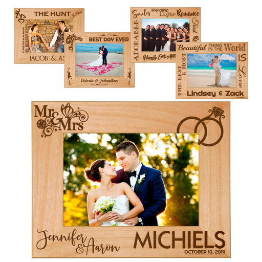 "Wedding Memories Celebration Red Alder Laser Engraved 5"" x 7"" Photo Picture Frames 