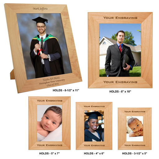 Genuine Red Alder Laser Engraved Photo Picture Frames | 5 SIZES