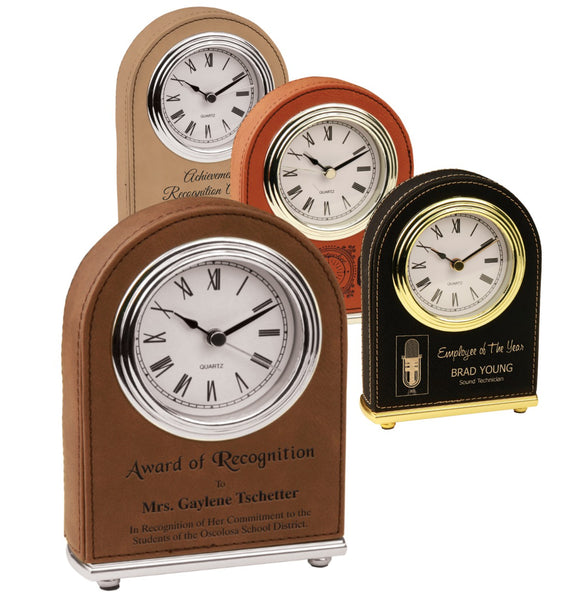 Leatherette wrapped Arch Desk Clocks | 4 COLORS