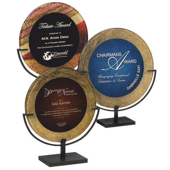 Premier - Artistically Inspired Round Acrylic Plaques in Black Iron Stand | 2 SIZES | 3 COLORS