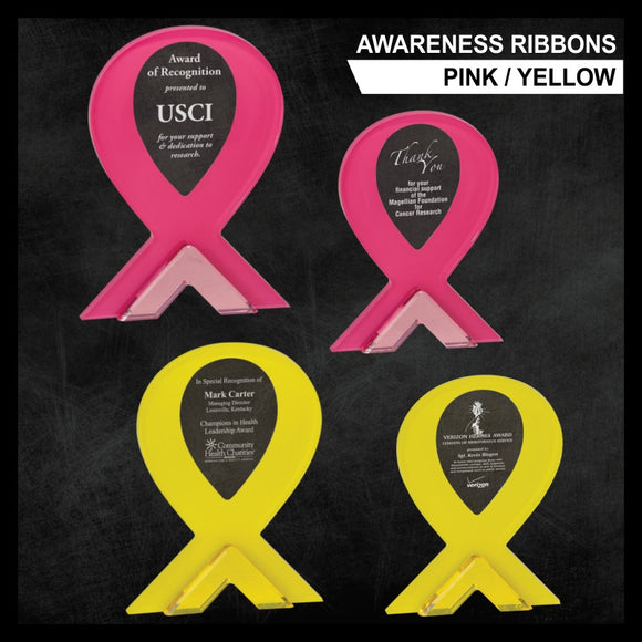 LA Trophies - Pink and Yellow Awareness Ribbon Acrylics with 1
