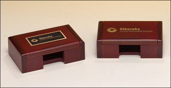 Airflyte Rosewood-finish business card box