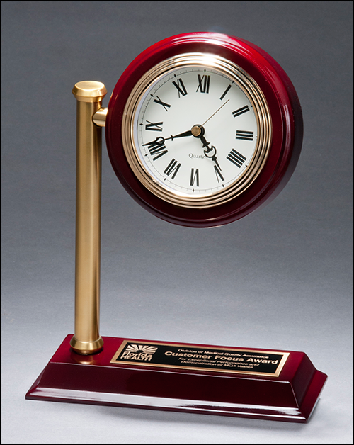 Airflyte Rail station style desk clock on rosewood finish high gloss base