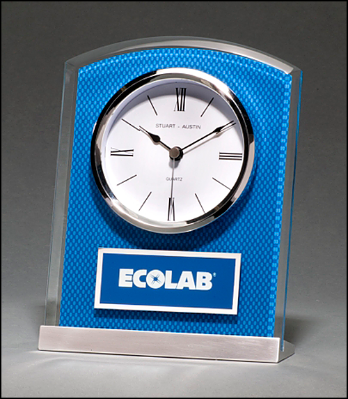 Airflyte Glass Clock with Blue Carbon Fiber Design on Aluminum Base Silver bezel, white dial, three-hand movement