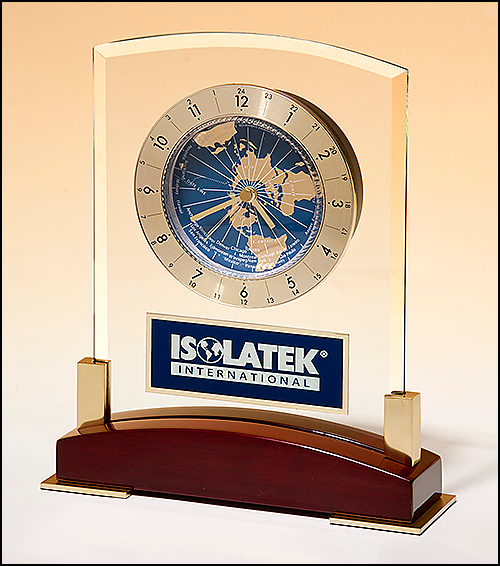 Airflyte Glass Clock with World Time Dial on Piano Finish Base with Gold Metal Accents