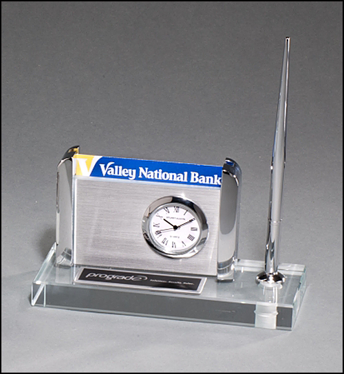 "Airflyte Clock, Pen and Business Card Holder on 1"" thick Clear Glass Base"