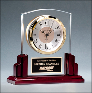 Airflyte Glass Clock with Rosewood Piano-Finish Base with Three hand movement with gold bezel and white dial