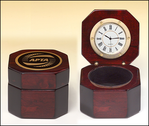 Airflyte Rosewood piano-finish desktop clock with velour lined storage area