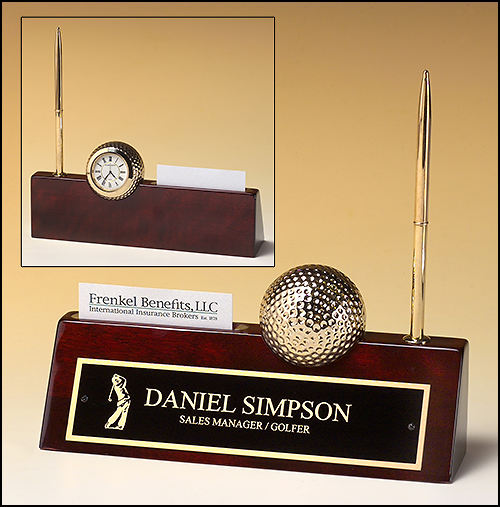 Airflyte Rosewood piano finish nameplate with pen, business card holder, and goldtone metal golf ball clock