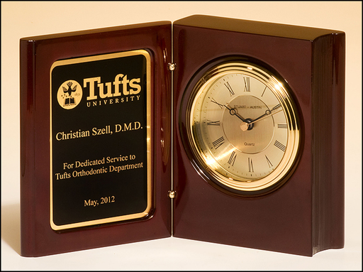 Airflyte High gloss rosewood piano-finish book clock with diamond-spun dial and three hand movement