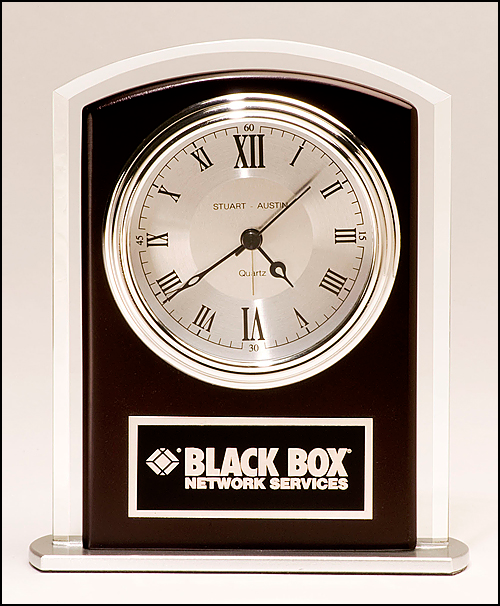 Airflyte Beveled glass clock with wood accent, silver bezel and dial, three hand movement
