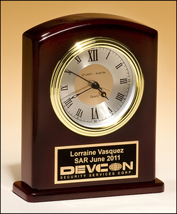 Airflyte High gloss rosewood finish clock, diamond-spun dial and three hand movement