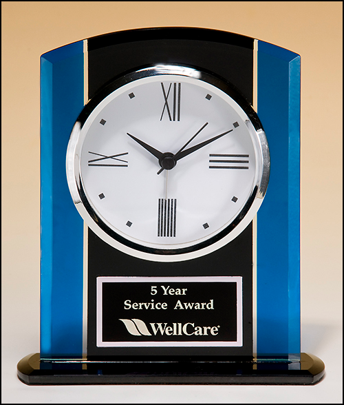 Airflyte Black and blue glass clock, silver bezel, three hand movement