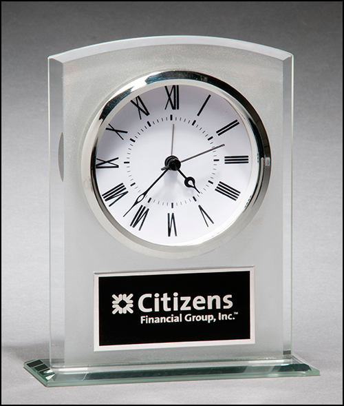 Airflyte Glass Desk Clock with frosted top polished edges and base