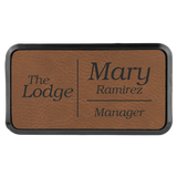Leatherette Name Badges in Black Plastic Frames | 3 SIZES | 9 COLORS