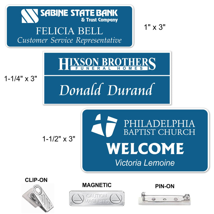 LA Trophies - Laser Engraved Plastic Name Badges MAGNETIC / PIN-ON / CLIP-ON Backing | 3 SIZES | 11 COLORS