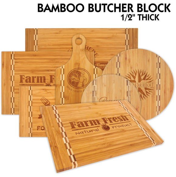 All Natural Bamboo with Butcher Block Inlay Cutting Boards | 6 SIZES